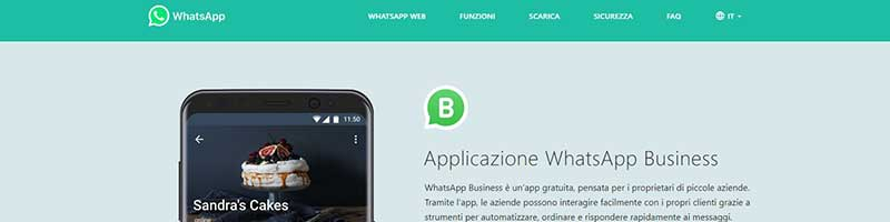 pagina iniziale WhatsApp business