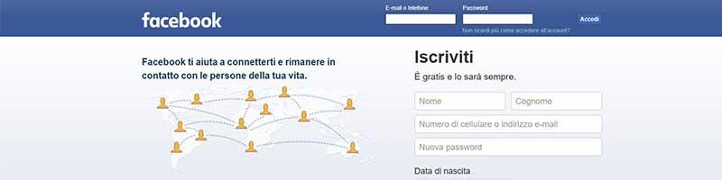 pagina iniziale di facebook