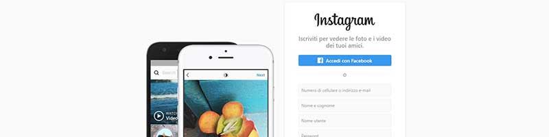 pagina principale di instagram